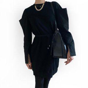 Clu black sweatshirt dress with volume sleeves